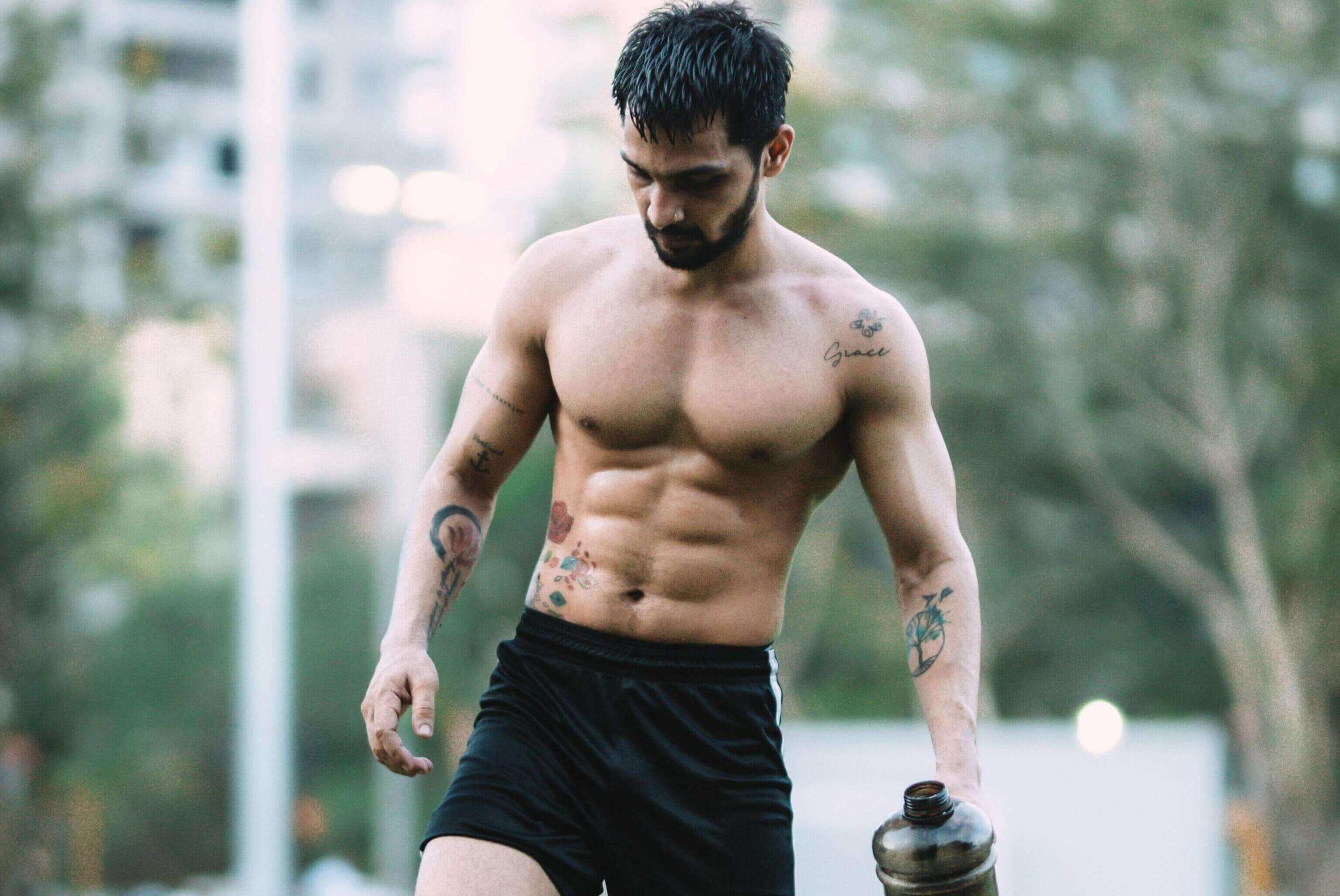 Shirtless Muscular Man Outside