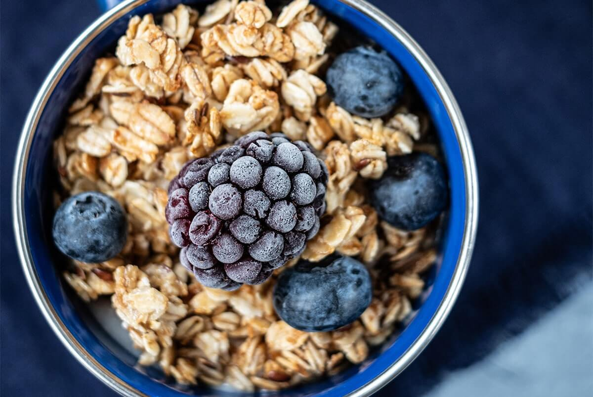 Bowl with Oatmeal and Blueberries