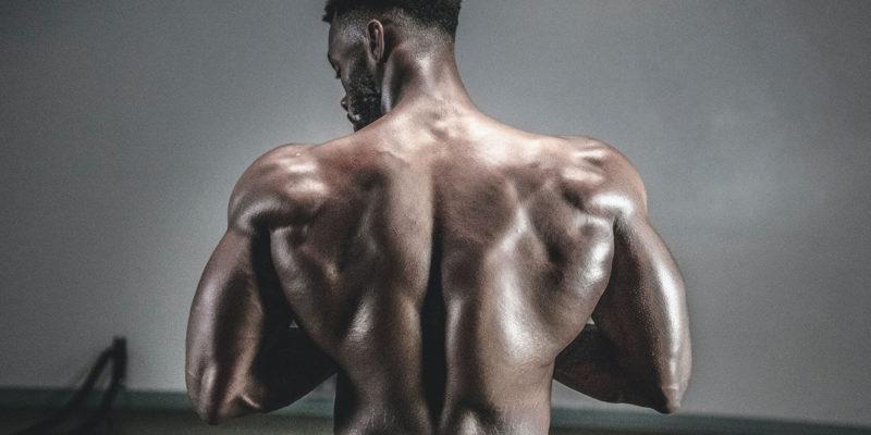 Bodybuilder Flexing Back Muscles