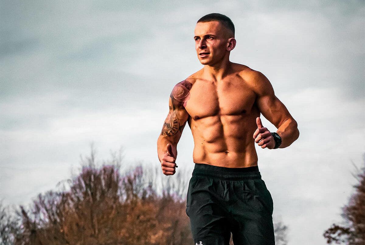 Shirtless Man Running Outdoors