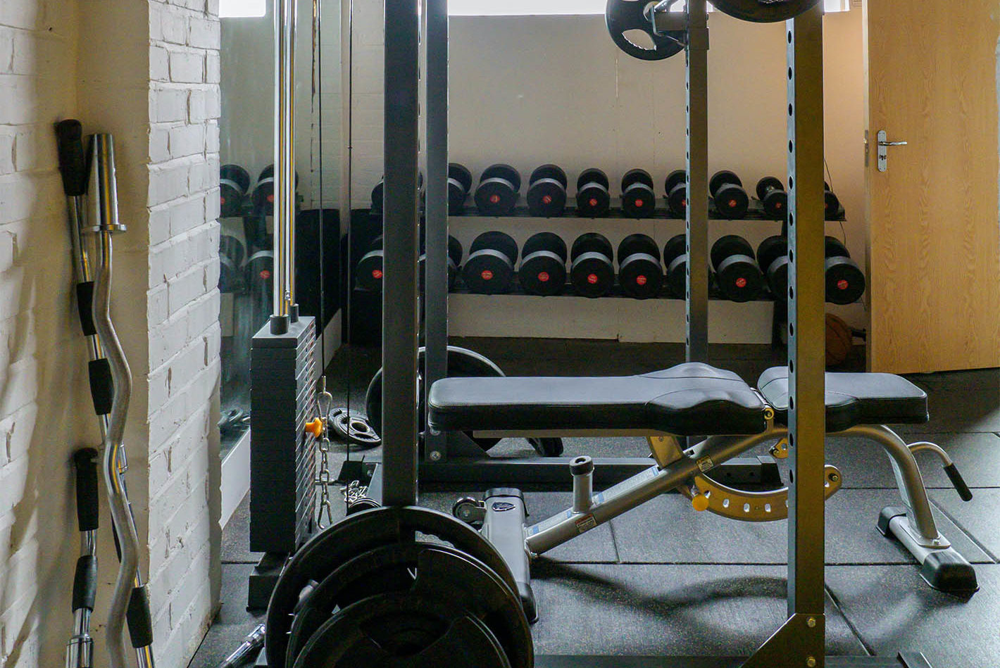 Small Gym with Dumbbells, a Squat Rack, and a Bench